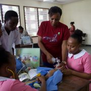 50,000 Happy Birthdays project leader, Lucy Mabada conducting a training session with midwifery students at Muhimbili Hospital